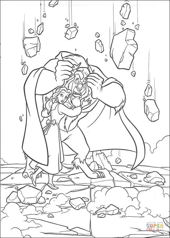 Beauty and the beast dancing coloring pages for kids, printable free | 794x567