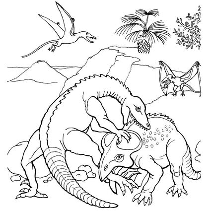 Protoceratops Fights Coloring Page