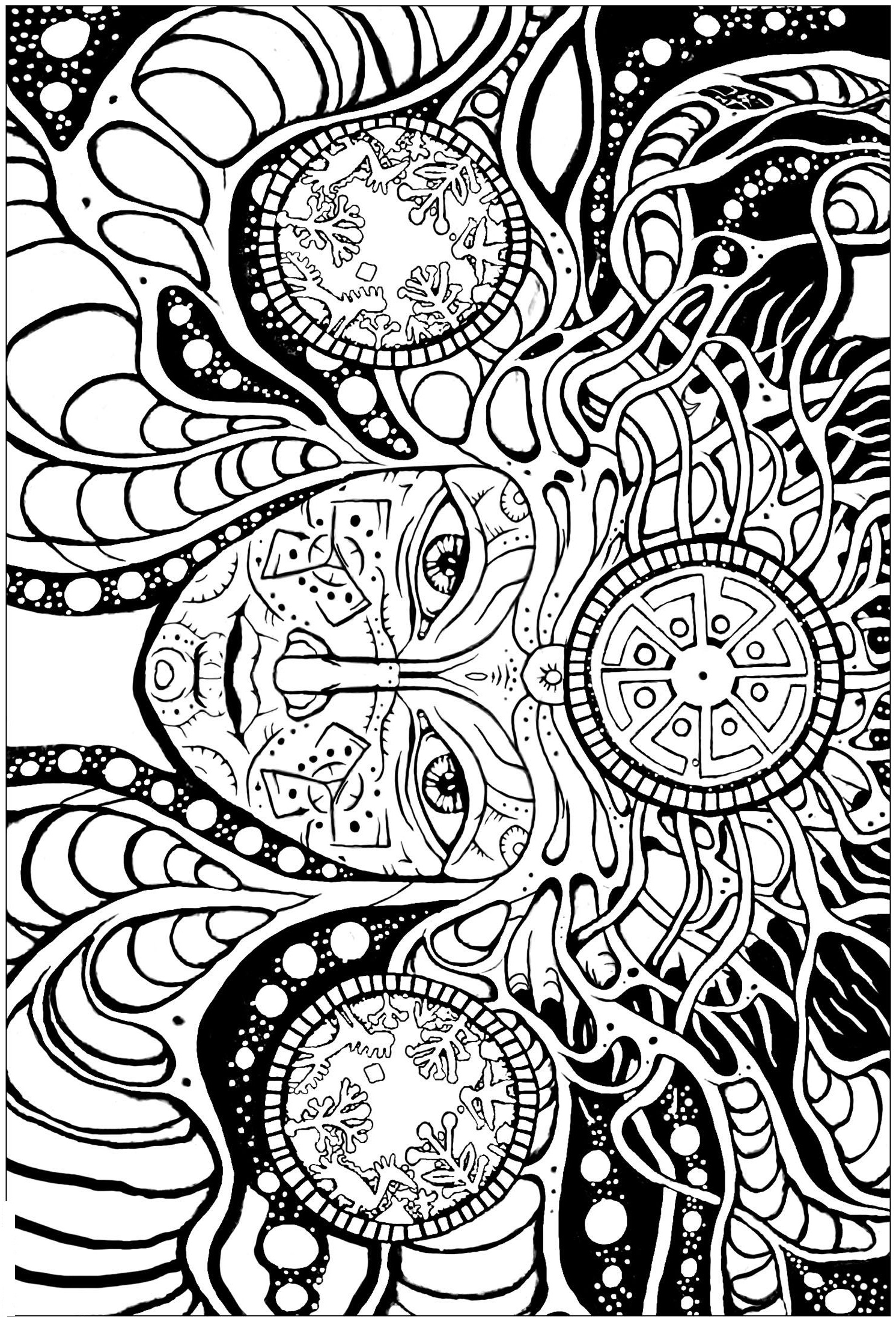 Psychedelic Femme Coloring Page