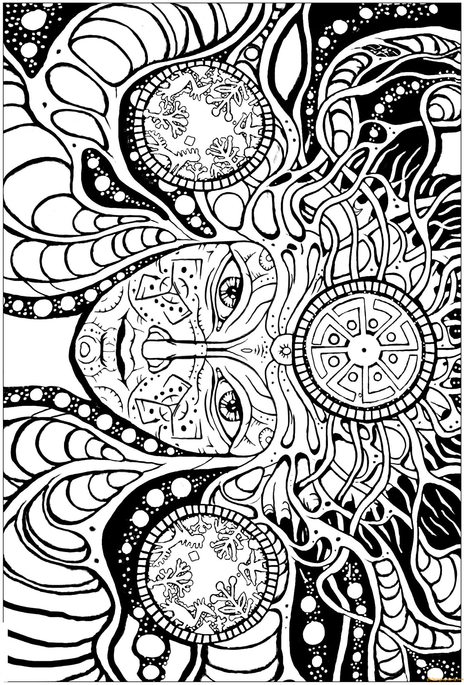 Psychedelic Femme Coloring Page - Free Coloring Pages Online