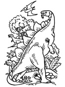 Pteranodon And Bipedal Stegosaurus Coloring Page