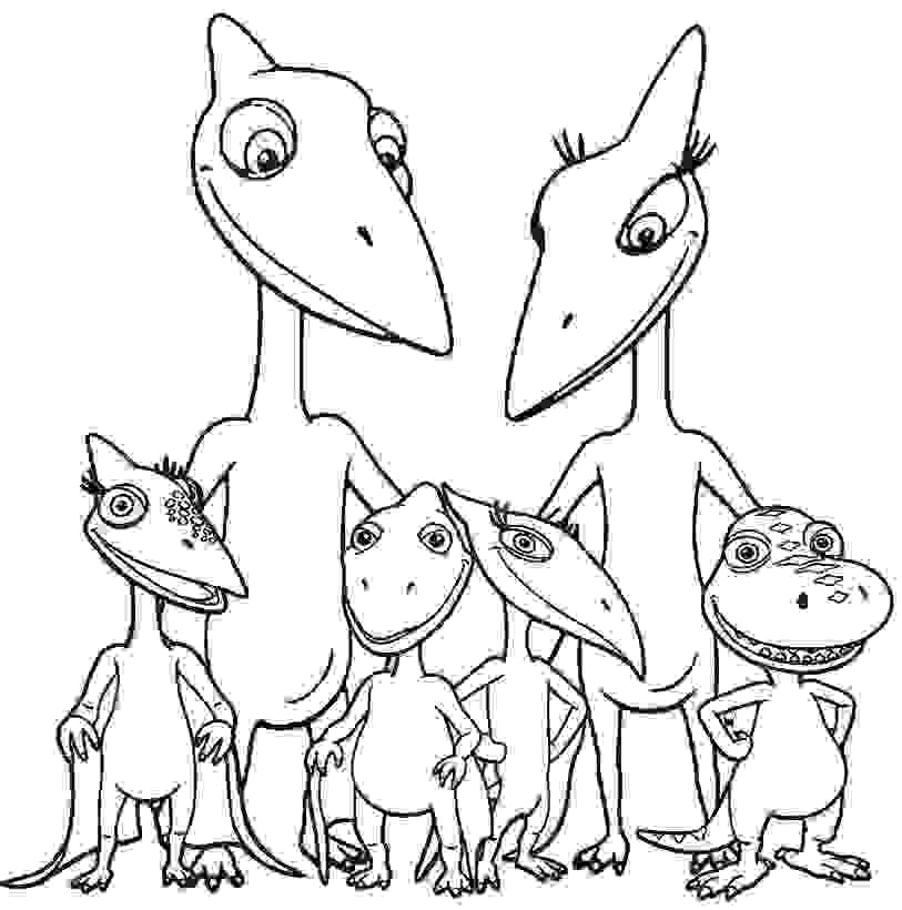 Pteranodon Dinosaur Family Coloring Page