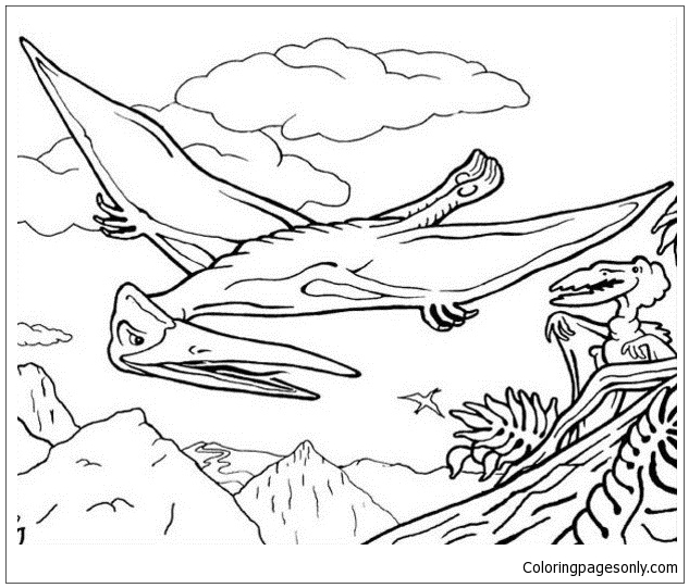 Pterosaur Flying Reptile  Coloring Page