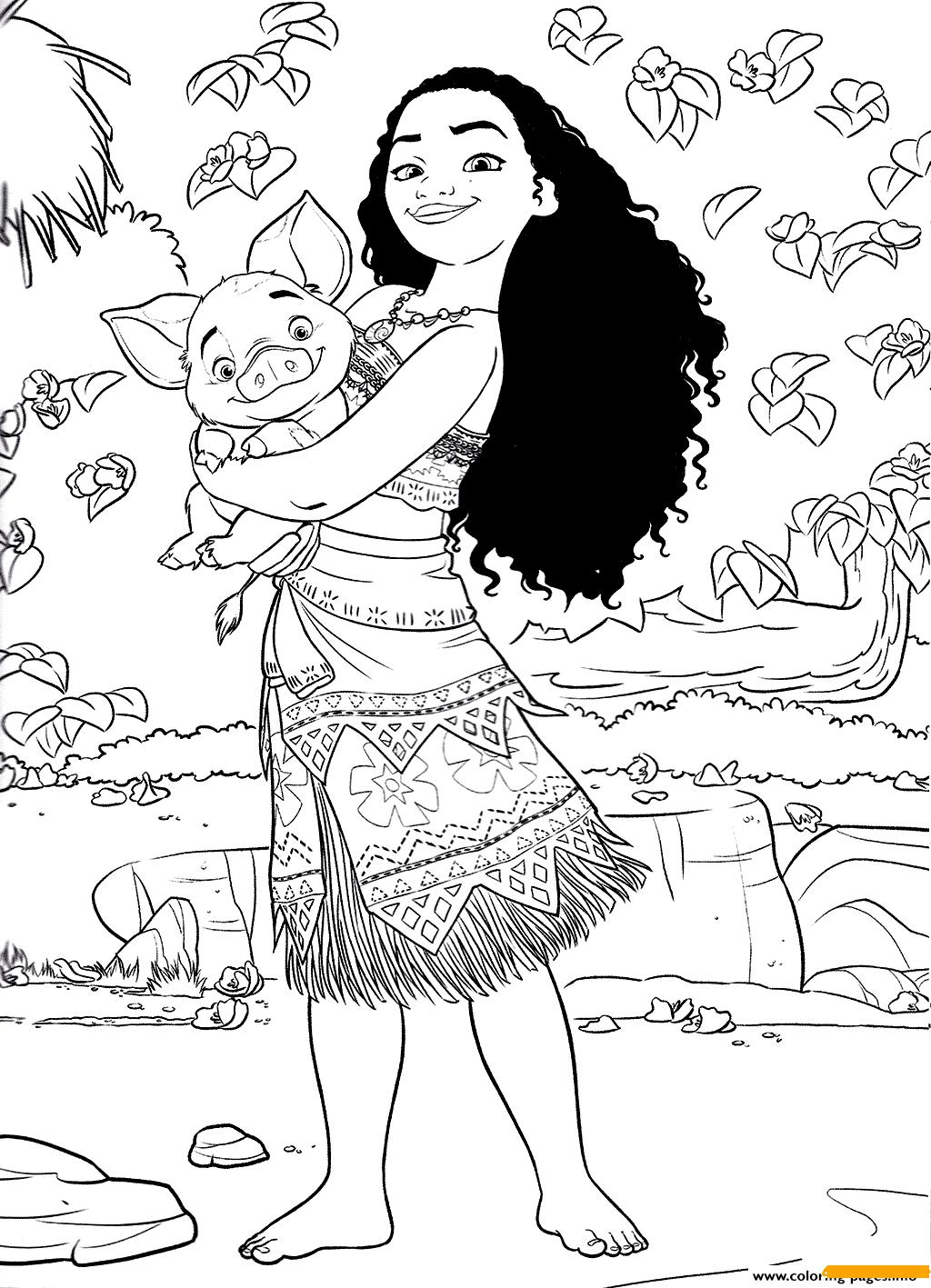 Pua And Princess Moana Disney Coloring Pages