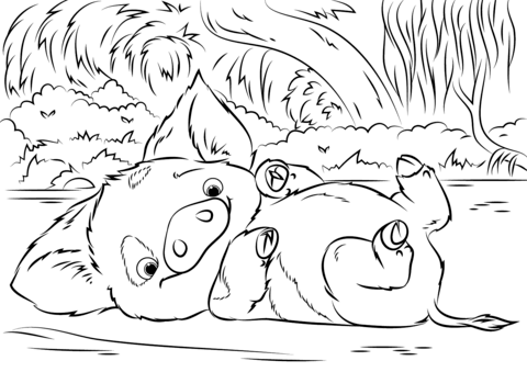 Pua Pet Pig from Moana from Moana Coloring Page