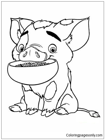 Pua Pig From Moana 2 Coloring Page