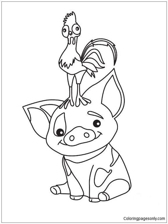 Pua Pig From Moana 3 Coloring Pages