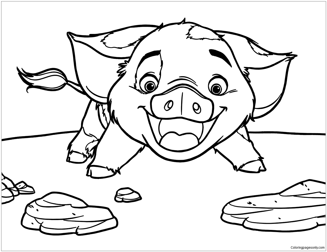Pua Pig From Moana 5 Coloring Page