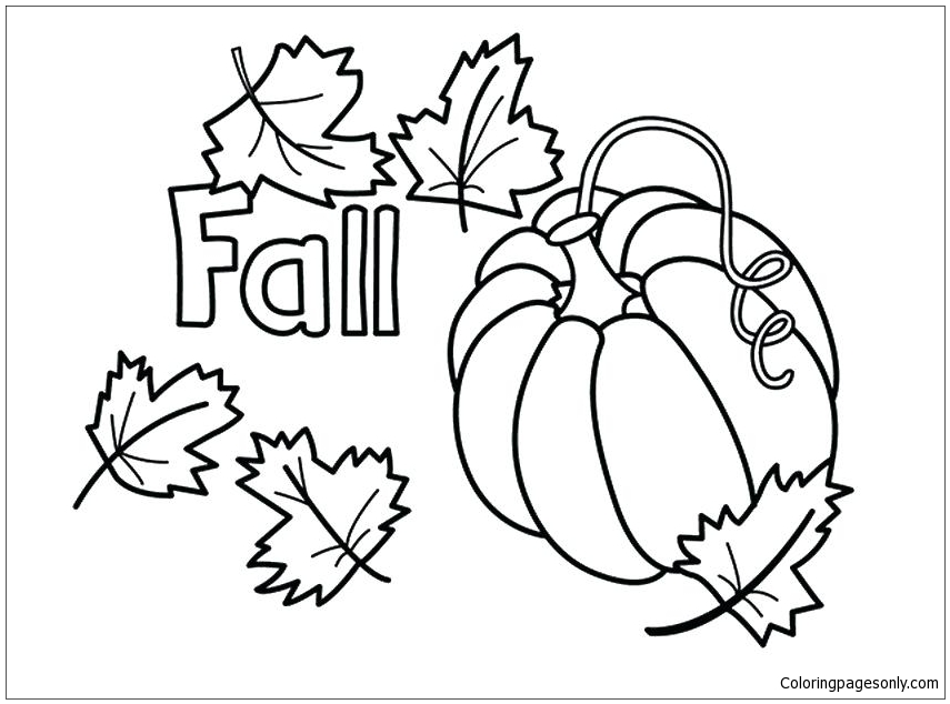 Pumpkin Halloween And Autumn Leaves Coloring Pages Nature Seasons Coloring Pages Free Printable Coloring Pages Online