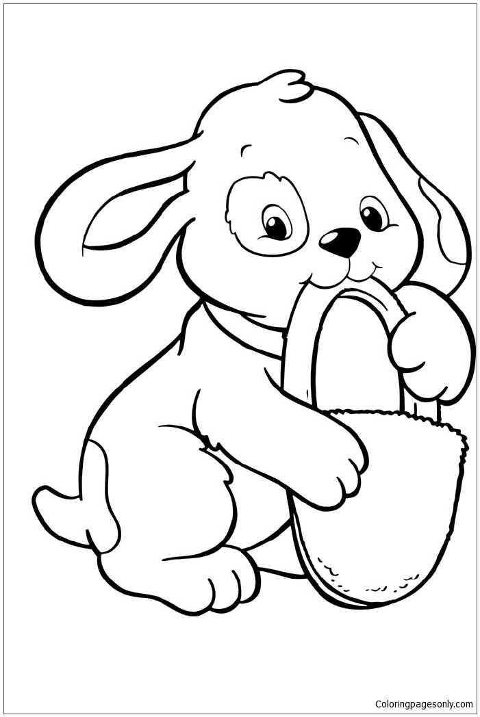 Coloring Page: Puppies Bite A Padlock Coloring Page