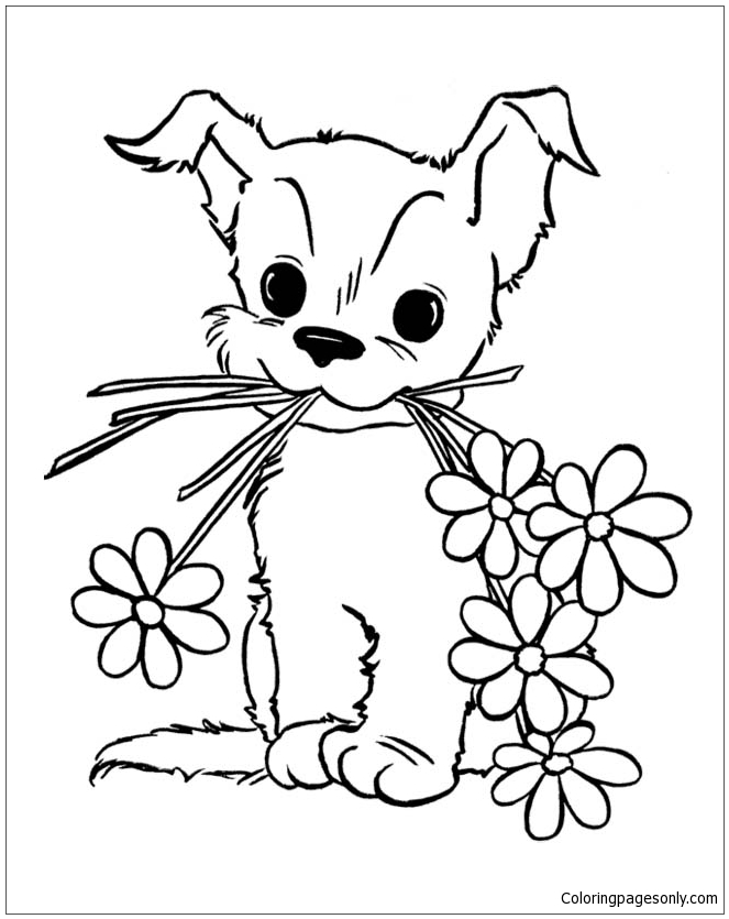 Puppy And Flowers Coloring Page