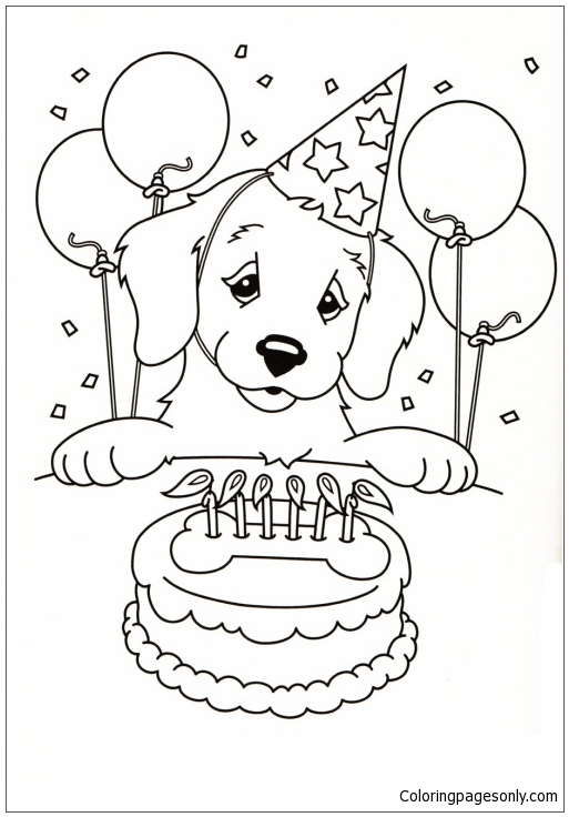 Blowing Candles at Birthday Party Coloring Pages - NetArt di 2020 ... | 736x513