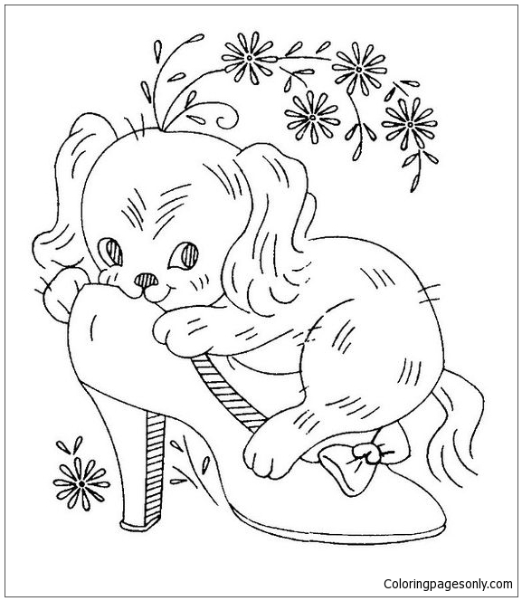 Puppy Cute On A Shoe! Coloring Page