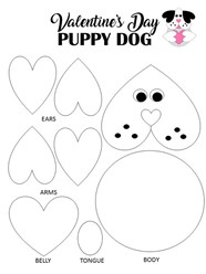 Puppy Dog Valentine Day Coloring Page