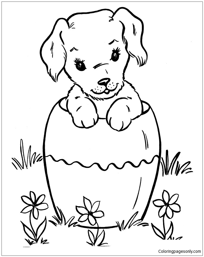 Puppy In A Jar Coloring Page