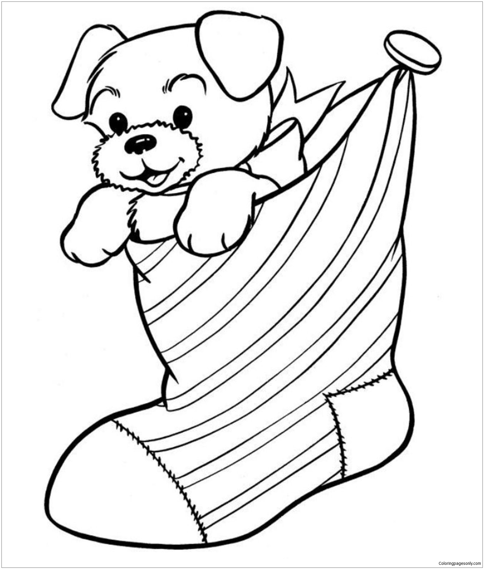 Puppy In The Stocking Coloring Page