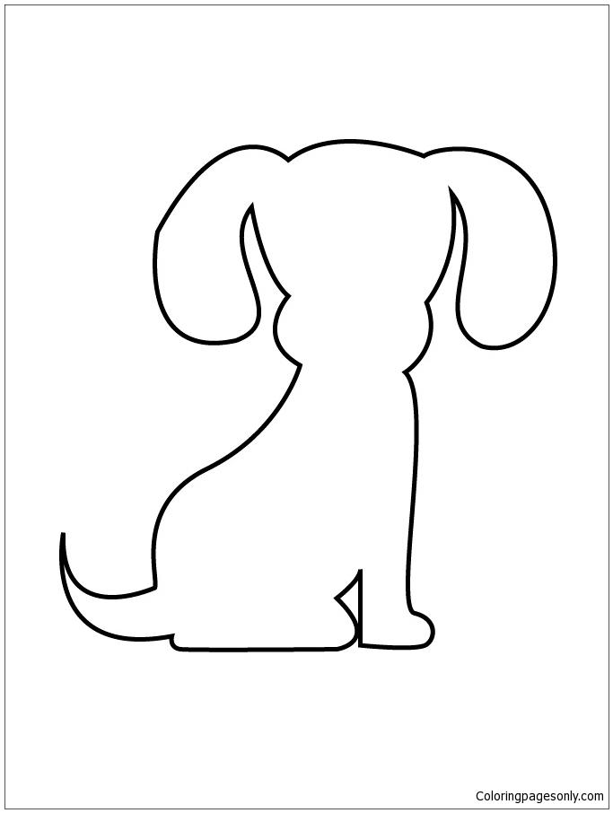 Puppy Stencil Coloring Page