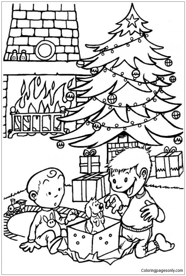 Puppy Under The Xmas Tree Coloring Page