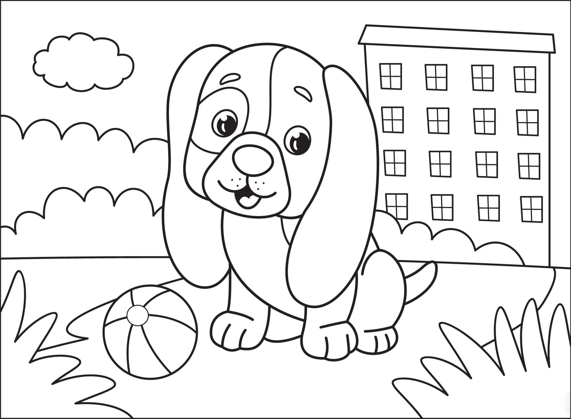 Puppy with long ears Coloring Page