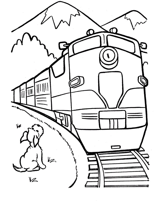 Puppy With Train Coloring Page Free Coloring Pages Online