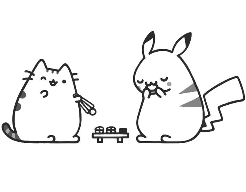 Pusheen Cat And Pikachu