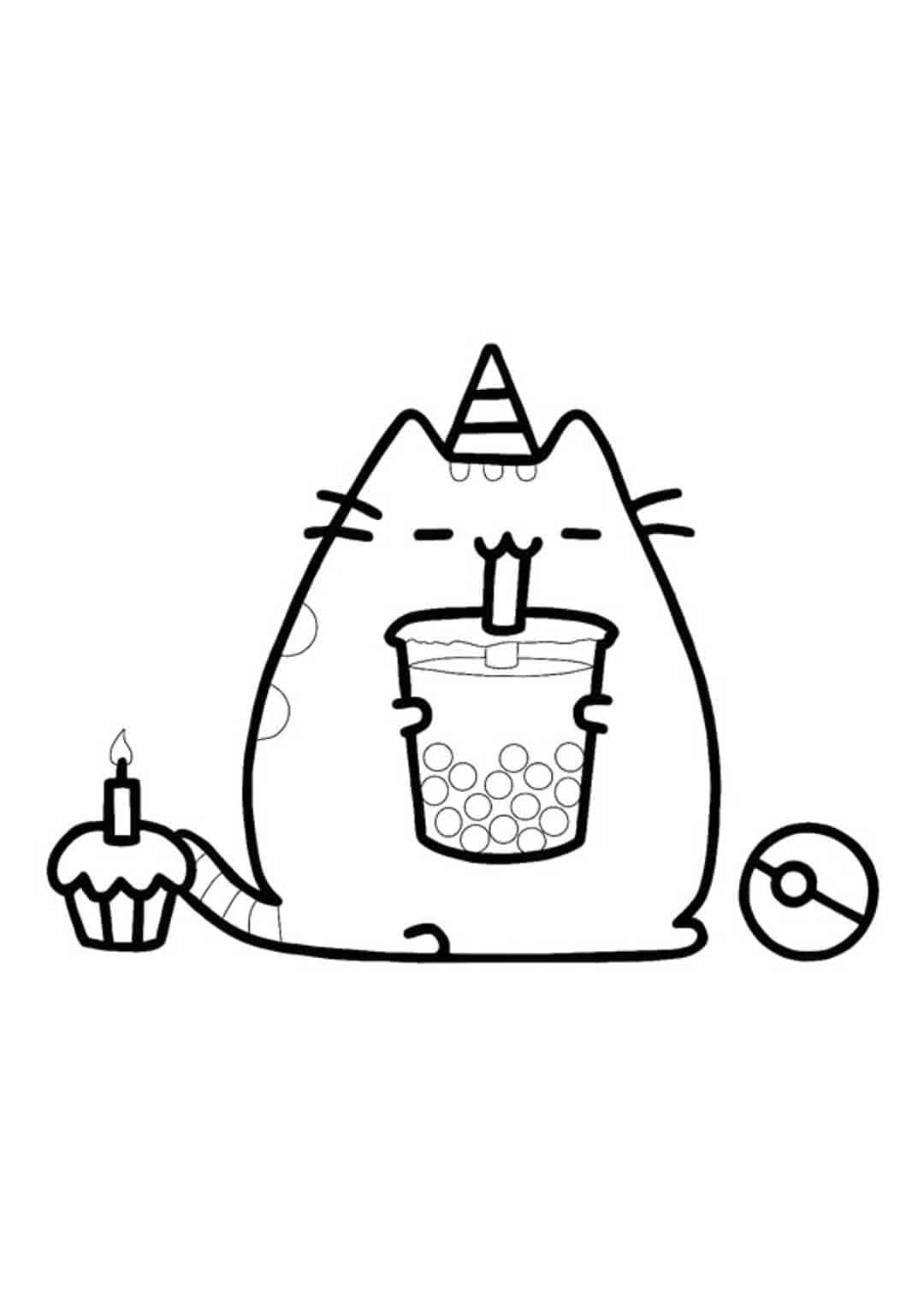 Pusheen Unicorn drinks bubble tea Coloring Page