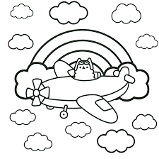 Pusheen Cat Book Coloring Page