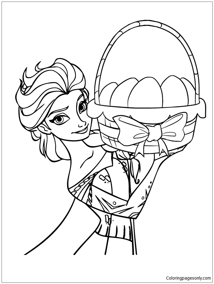 Queen Elsa Holding Easter Bask Coloring Page