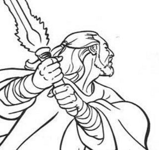 Qui-Gon Jinn And Anakin Coloring Page