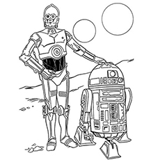 R2d2 And C3po Starwar Coloring Page
