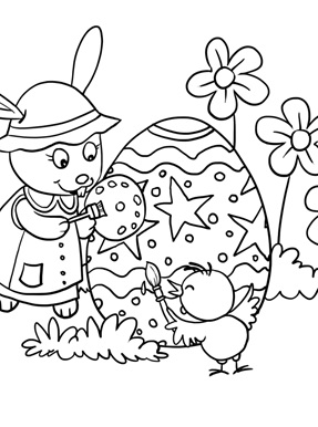 Rabbit And Chick Painting Eggs Coloring Page
