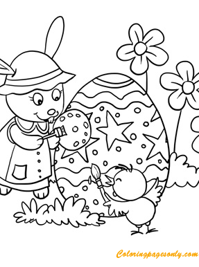 Rabbit And Chick Painting Eggs Coloring Pages