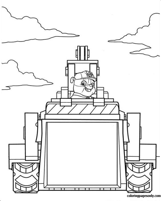 Rabble Construction Truck - Paw Patrol Coloring Page