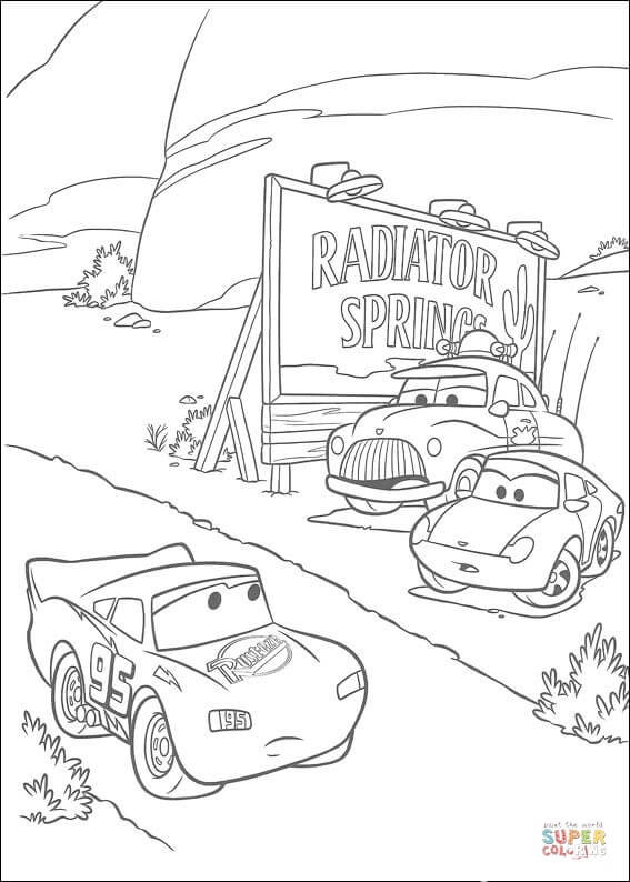 McQueen Passing Through Radiator Springs  From Disney Cars Coloring Page