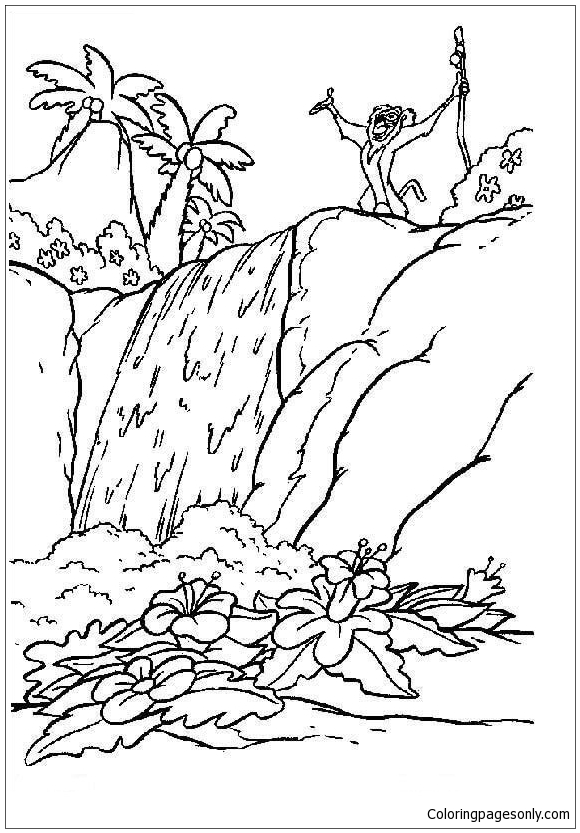 Rafiki On The Waterfall Coloring Page