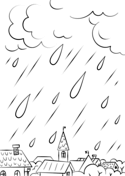 Rain In The City Coloring Page