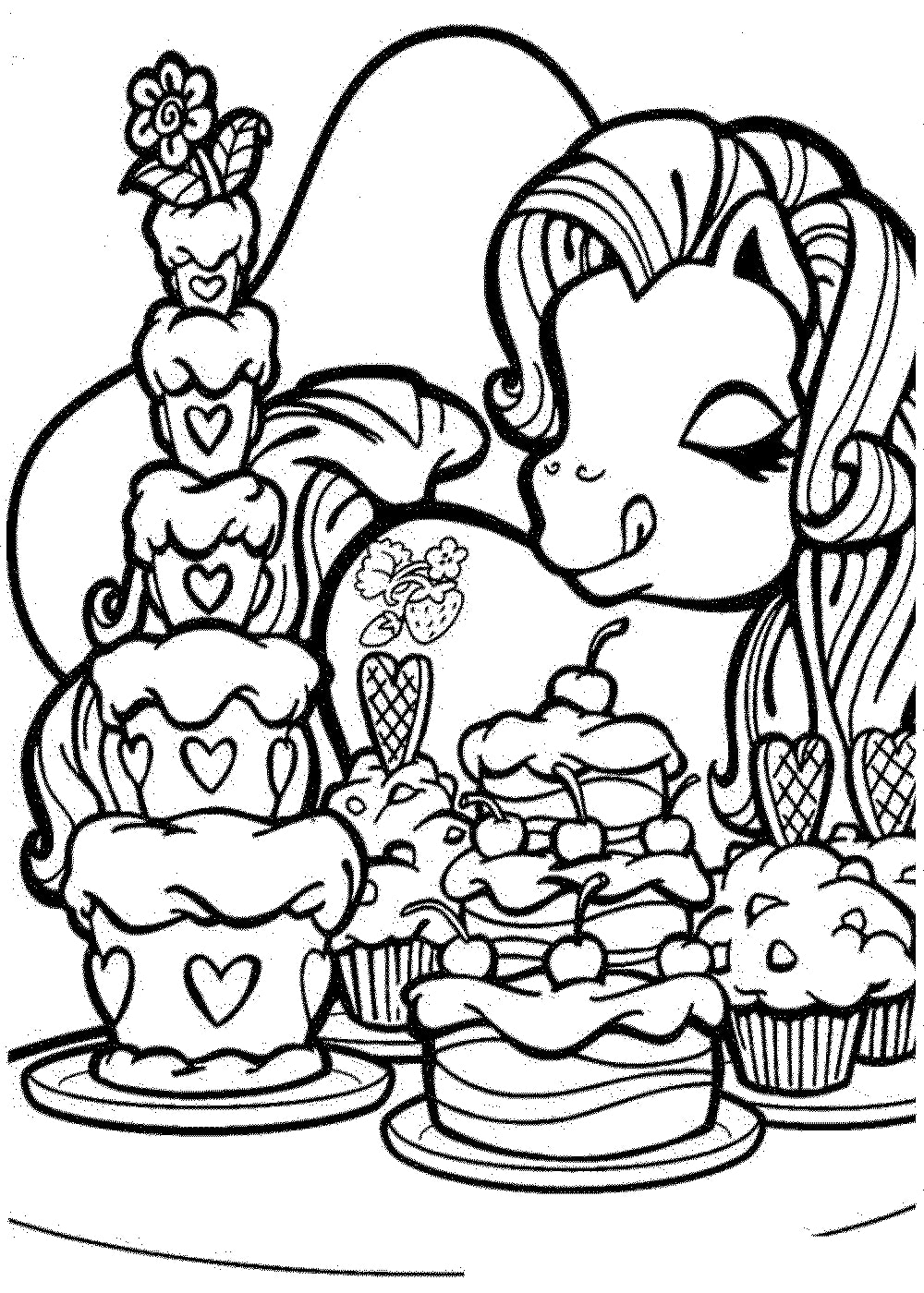 Rainbow Dash Cakes Coloring Page