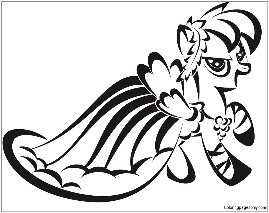 Rainbow Dash Gorgeous Dress Coloring Page