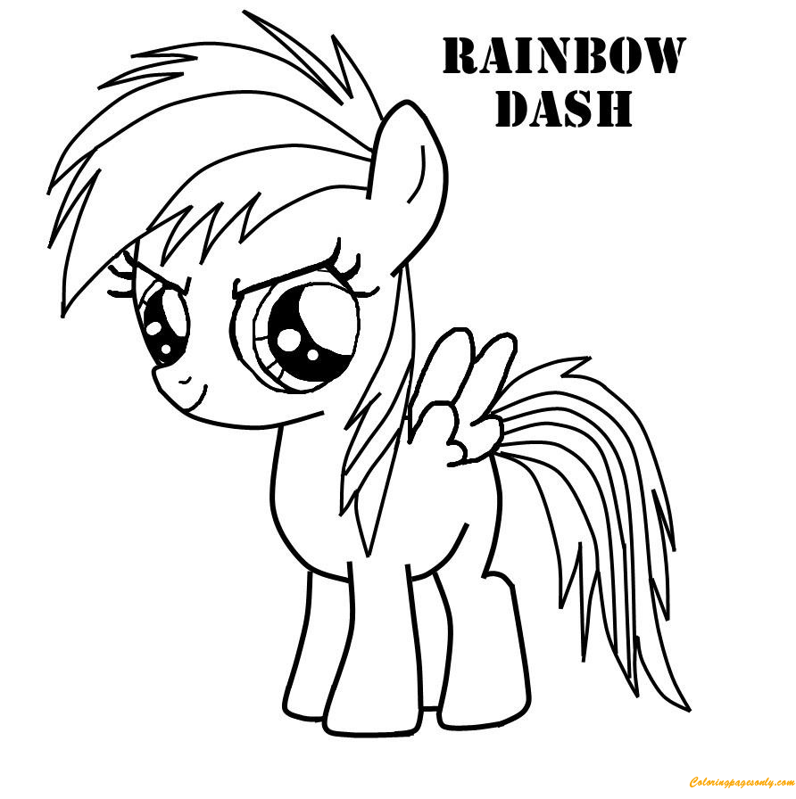 Rainbow Dash Very Cute Coloring Page