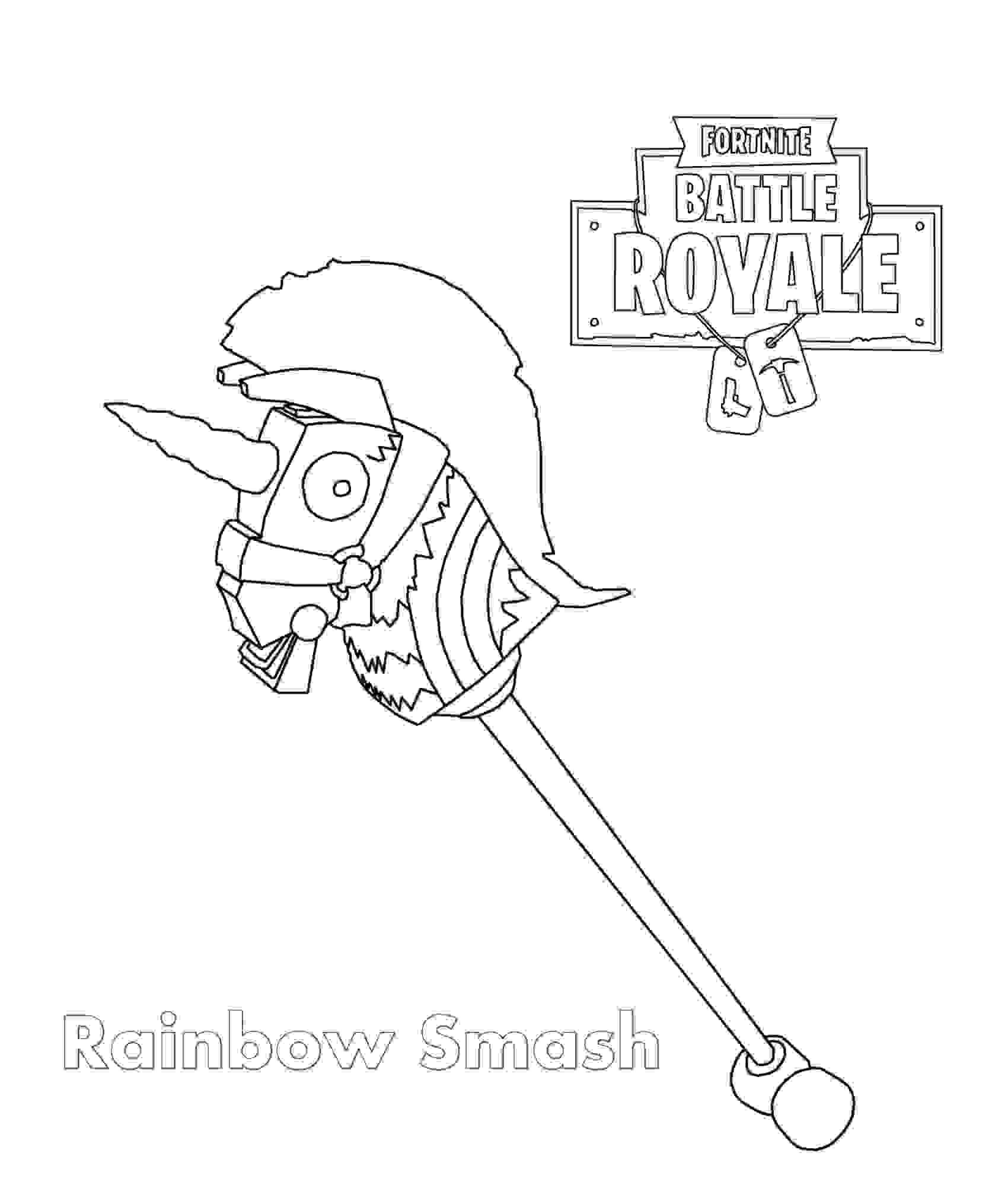 Rainbow Smash Pickaxe is an Epic Harvesting Tool in Fortnite Battle Royale Coloring Page