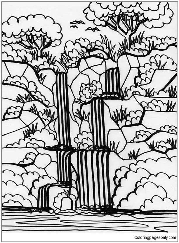 - Rainforest And Waterfalls Coloring Page - Free Coloring Pages Online