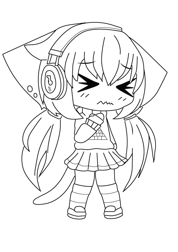 Ramba is crying in Gacha Life Coloring Page