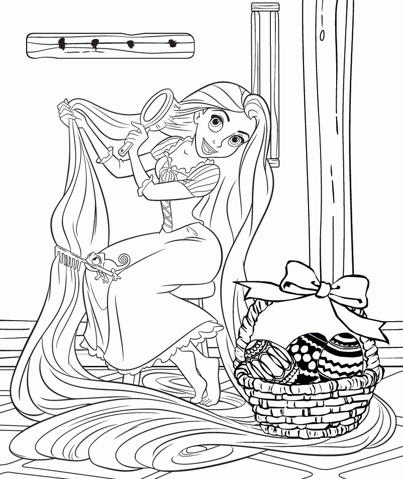 Rapunzel and basket of eggs Coloring Page