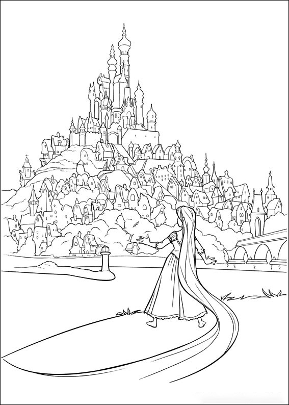 Rapunzel and Corona Castle Coloring Page