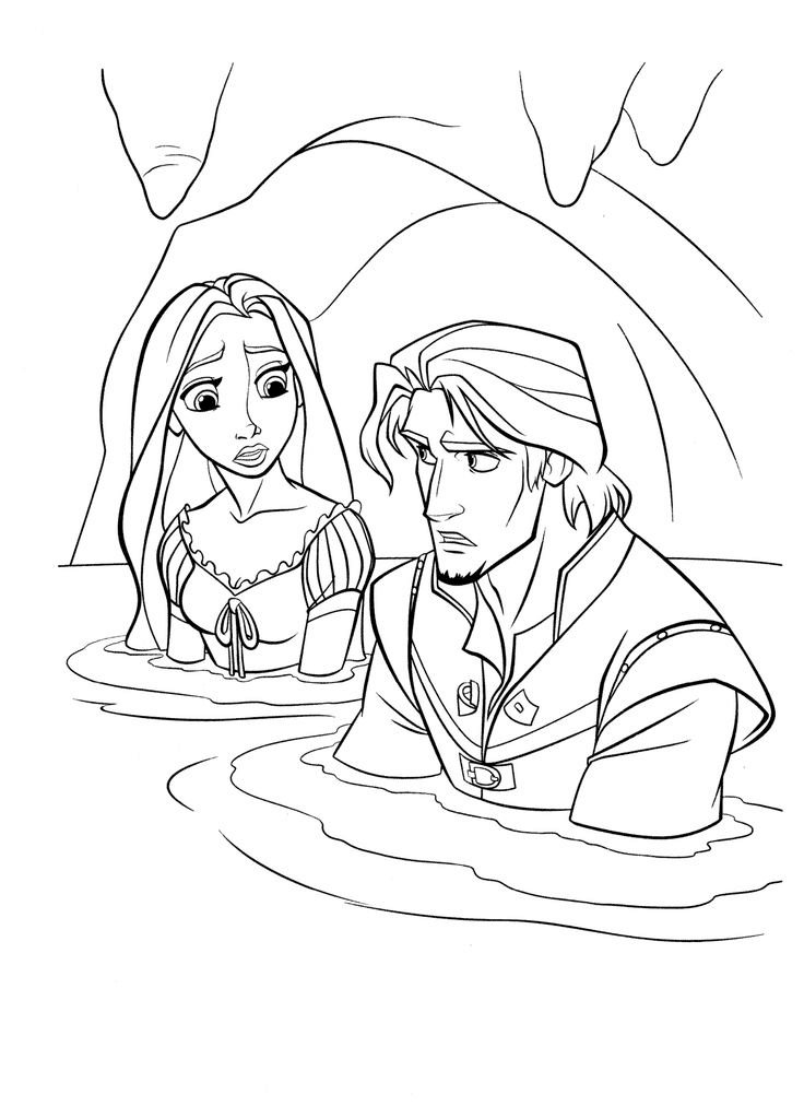 Rapunzel and Flynn in a cave Coloring Page
