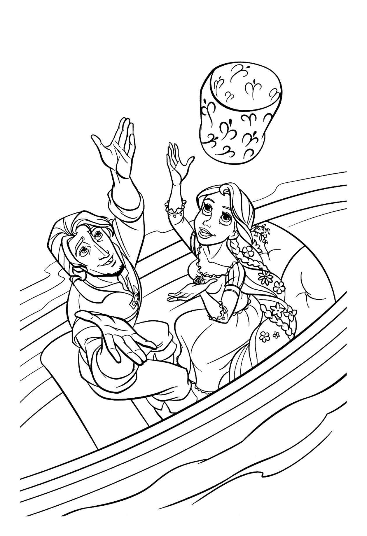 Rapunzel and Flynn release a lantern Coloring Page
