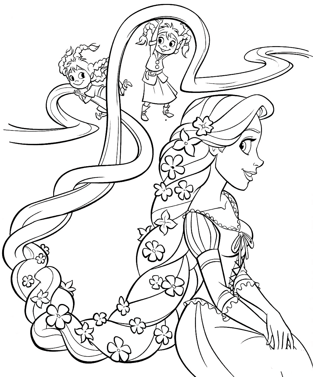 Rapunzel and twins Coloring Page