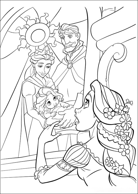Rapunzel and hers family picture Coloring Page