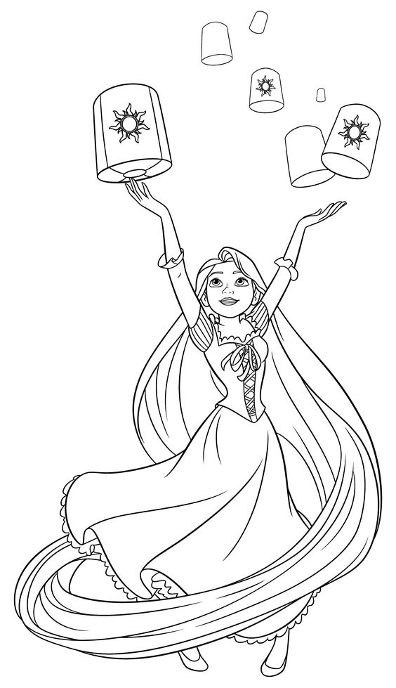 Rapunzel and the lanterns Coloring Page