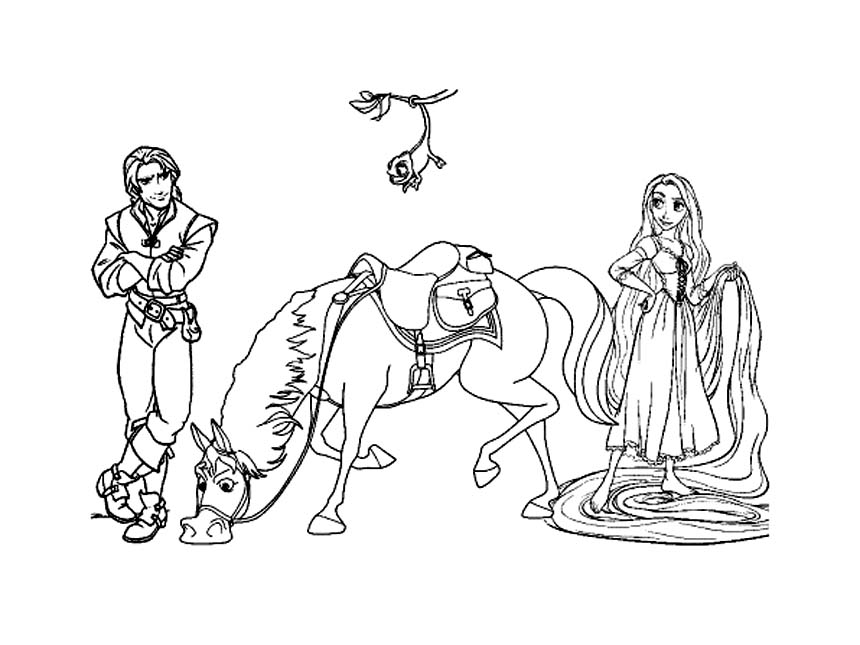 Rapunzel, Flynn, Maximus and Pascal Coloring Page